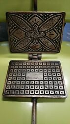 Rare Antique Vintage Unmarked 22 Cast Iron Pizzelle Waffle Maker Italy Euc