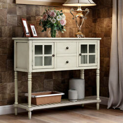 Sideboard Console Table With Bottom Shelf Farmhouse Buffet Storage Cabinet Us