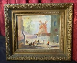 Vintage Antique Impressionistic Cityscape Oil Painting On Board Moulin Rouge