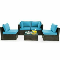 Deluxe 5pc Cushioned Patio Rattan Furniture Set-turquoise
