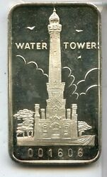 Water Tower First National Bank Of Chicago 1 Oz 999 Fine Silver Bar - Rc644