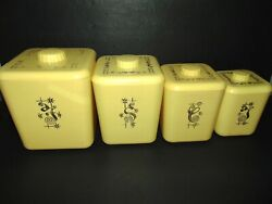 Vtg 4 Piece Canister Set Cols Plastic Products Sunny Yellow Retro 50's With Lids