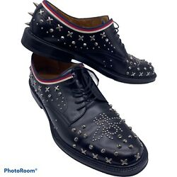 Mens 10.5 Uk 11 Us Studded Bee Derby Dress Shoes Spikes Studs Black Rare