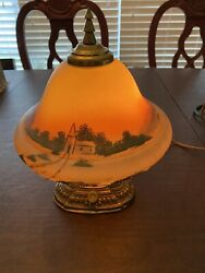 Antique Rare Reverse Painted 1934 Pairpoint Style Lamp W/ Mountain Sunset Scene