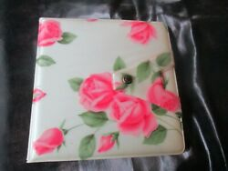 Groovy Vintage Two Mirrors Fold Open Pink Roses On Cream Compact - 1970's