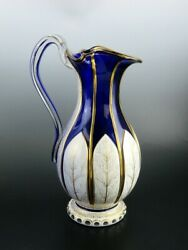 Antique Bohemian Cased Glass Gilded White On Cobalt Blue Pitcher Ewer