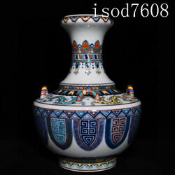 Chinese Antique Qianlong Blue And White Doucai Four Systems Bottle Mouth