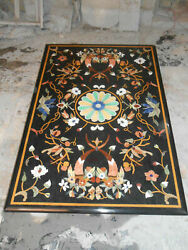 5and039x2.5and039 Black Marble Table Top Dining Center Inlay Lapis Handmade Decor C136