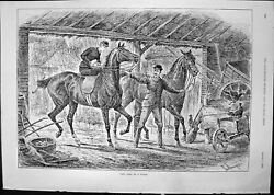 Old Print Any Port In Storm Horses Barn Sturgess Travelled Postcard 1891 19th