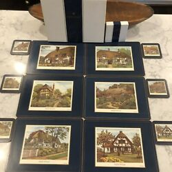Pimpernel 6 Placemats And 6 Coasters English Cottages Blue Border In Boxes -12