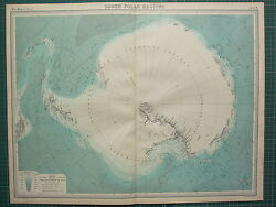 1921 Large Map South Polar Regions Sea Depths Pack Ice Explorers Routes