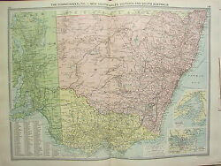 1920 Large Map New South Wales Victoria And South Australia Sydney Melbourne