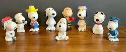 Vintage Peanuts Snoopy Squeaker Toy Lot Joe Cool Police 1958 1966 Ufs Lot Of 9