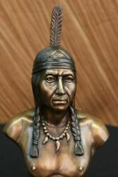 Rare Indian Native American Art Chief Eagle Bust Marble Base Sculpture Artwork