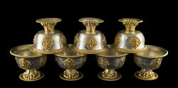 7 Bowls In Offering Tibetan Ø 3 15/16in Buddhist Quality Museum Copper 26530