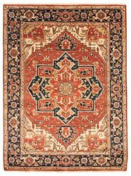 Vintage Hand-knotted Carpet 9'1 X 12'0 Traditional Dark Copper Wool Area Rug