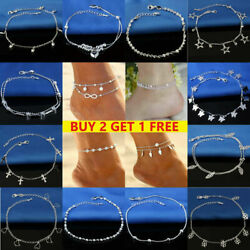US Ankle Bracelet 925 Sterling Silver Anklet Foot Chain Beach for Many Occasions $6.52