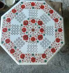 30'' Marble Dining Coffee Side Center Corner Malachite Inlay Jali Table Top