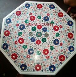 3' White Marble Table Top Dining Room Coffee Marquetry Pietra Dura Inlay Antique