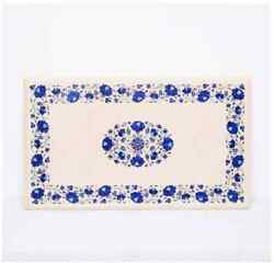 30and039and039x17and039and039 White Marble Table Top Center Coffee Inlay Antique Pietra Dura H1