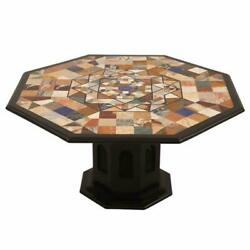 30 Black Marble Coffee Center Table Top With Stand Marquetry Inlay Pietra Dura