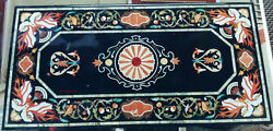 5and039x3and039 Black Marble Table Top Fancy Coffee Center Center Inlay Lapis Home Decor