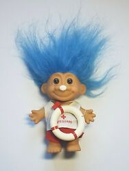 Troll Lifeguard Life Preserver And Whistle Blue Hair Doll 5 Russ No 18530 T11