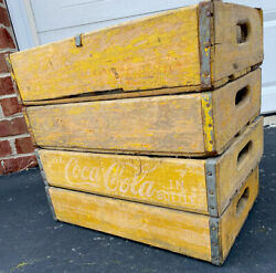 4 Vintage Faded Weathered 1960andrsquos Coca Cola Coke Soda Crates 24 Dividers