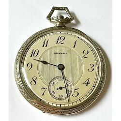 E. Howard Watch Company 14 Karat Solid White Gold Opened Faced Pocket Watch 1926