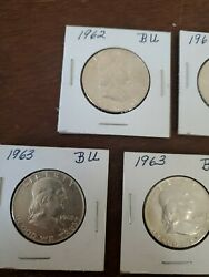 Lot Of 7 Franklin Silver Half Dollars 2 1962 And 5 1963.... Bu Nice Must Have