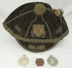 Antique High School Of Glasgow Cap And 2x Sterling Silver Medals 1911-1912