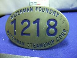 Badge Nautical Steamship Waterman Foundry Corp 1218 Ship Building Staff Worker
