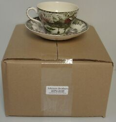 Johnson Brother Friendly Village Made In England Oversized Cup Saucer Set/ Four