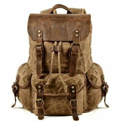 Mens Waxed Canvas Backpack Rucksack Laptop Compartment Rustic Leather Vintage