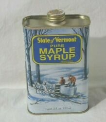 Vintage Pure Maple Syrup Tin Can Bottle State Of Vermont 1 Pint With Lid Empty