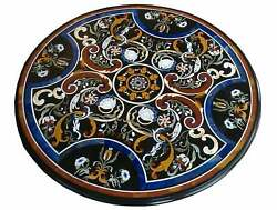 30and039and039 Antique Black Marble Dining Coffee Center Table Top Round Inlay Home Wi