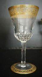 St Louis Crystal Thistle Wine Glass Gold France 6
