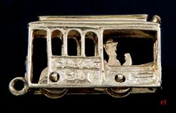 Neat 14k Yellow Gold Movable San Francisco Cable Car Trolley Charm