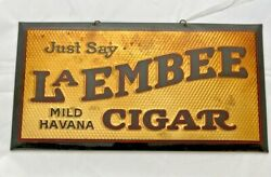 Antique Metal Wrapped With A Celluloid La Embee Mild Havana Cigar Sign
