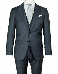 Caruso Suit In Dark Grey With Waistcoat From Superfine 130and039s Wool Regeur1990
