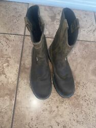 Used Wolverine Pull On Steel Wellington Work Boots Menand039s Sz 9 1/2