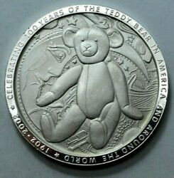 2002 100 Years Teddy Bear And 26th President T. Roosevelt 1 Oz 999 Silver Round