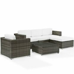 Crosley Sea Island 6 Piece Patio Sectional Set In Brown And White