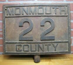 Monmouth County 22 Antique Cast Iron Transporation Highway Route Embossed Sign