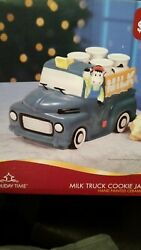 Ceramic Holiday Time Antique Milk Truck Cow Cookie Jar W/box