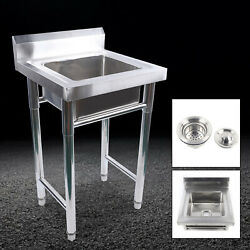 201 Stainless Steel Freestanding Single Sink Laundry Kitchen Wash Bowl Basin New