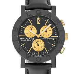 Bvlgari Bb38cl Monte Carlo Carbon Gold Chronograph Carbongold Watch Box Papers
