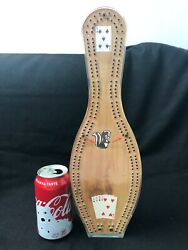 Vintage Lucite Bowling Pin Cribbage Board Game Sports Boards Skunk Brass Pins