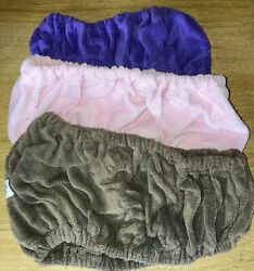 Lot Of 3 Tassi Brown Pink And Purple Hair Holder Head Wrap Stretch Terry Cloth