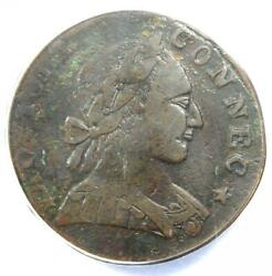 1788 Mailed Bust Right Connecticut Colonial Copper Coin - Anacs Vf30 Details